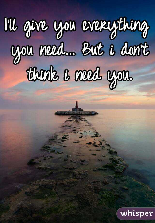 I'll give you everything you need... But i don't think i need you.