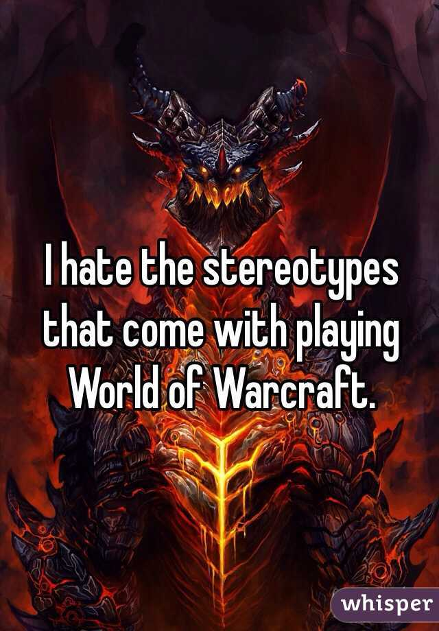 I hate the stereotypes that come with playing World of Warcraft.