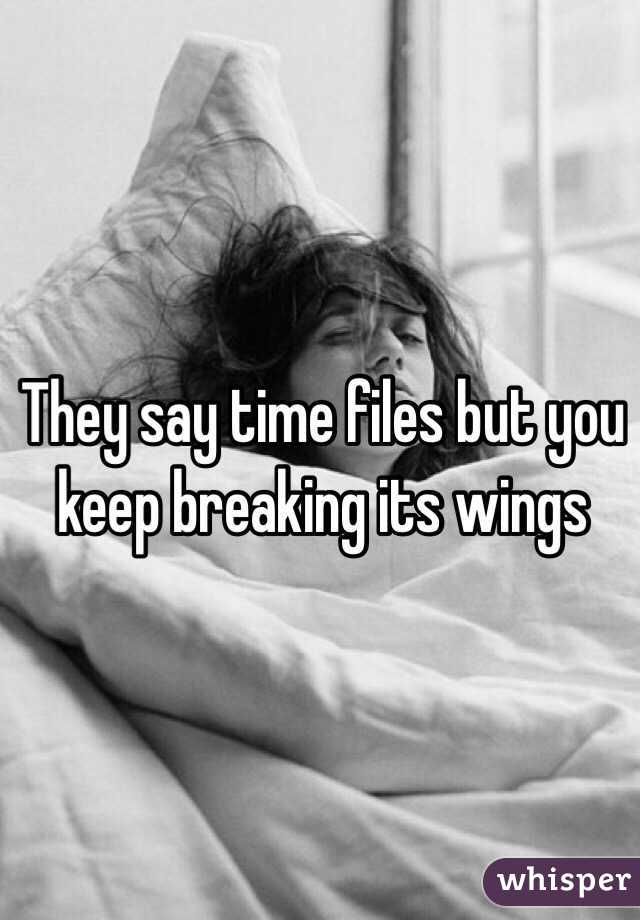 They say time files but you keep breaking its wings