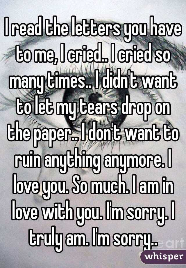 I love you and im sorry letters