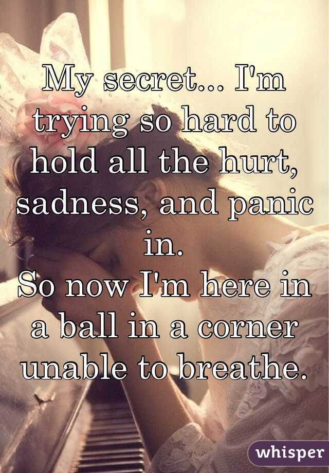 My secret... I'm trying so hard to hold all the hurt, sadness, and panic in. So now I'm here in a ball in a corner unable to breathe.