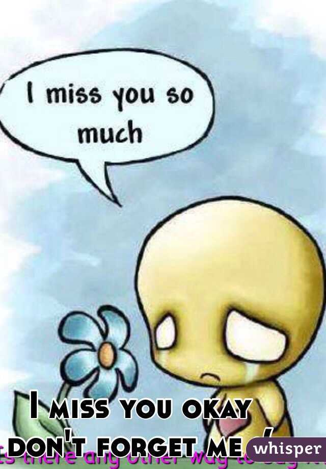 I miss you okay don't forget me :(