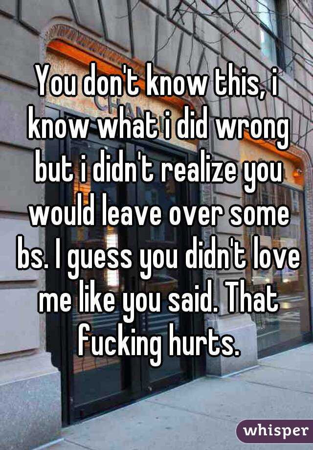 You don't know this, i know what i did wrong but i didn't realize you would leave over some bs. I guess you didn't love me like you said. That fucking hurts.
