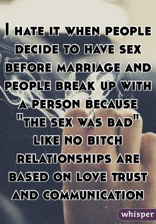 Why is sex before marriage bad