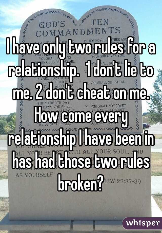 Rules to have in a relationship