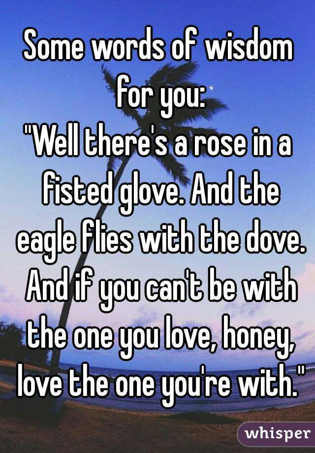 One you to love with re words the STEPHEN STILLS