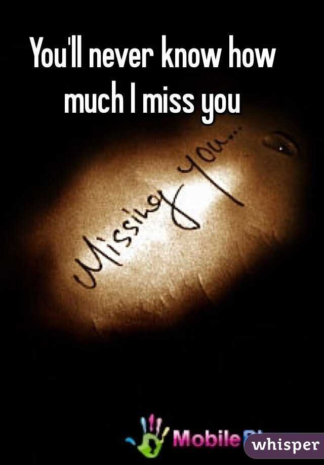 You Never Conscious How Much I Miss You