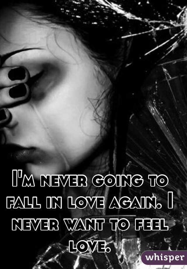 I'm never going to fall in love again. I never want to feel love.