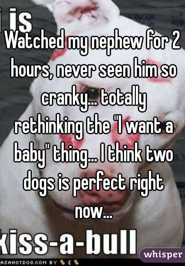 """Watched my nephew for 2 hours, never seen him so cranky... totally rethinking the """"I want a baby"""" thing... I think two dogs is perfect right now..."""
