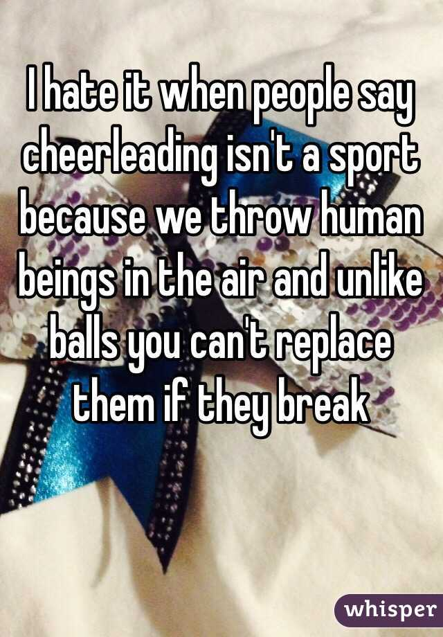 cheerleading isnt a sport essay Cheerleading is a sport, get over it from the  you may now be thinking of pom-poms and chants but neither is a big part of the competitive side of cheerleading.