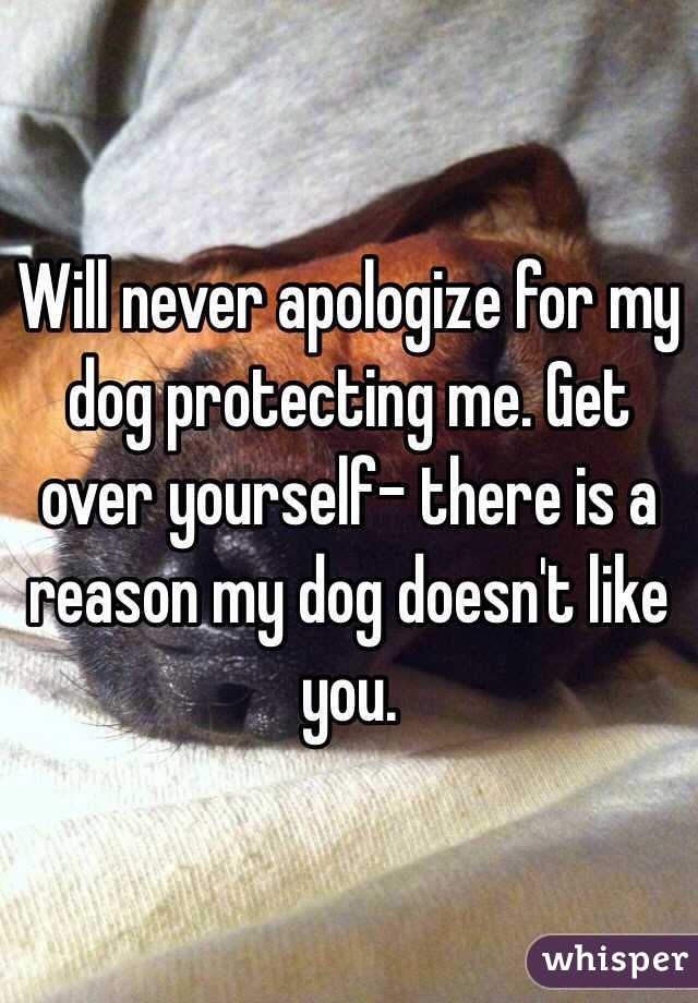 Will never apologize for my dog protecting me. Get over yourself- there is a reason my dog doesn't like you.