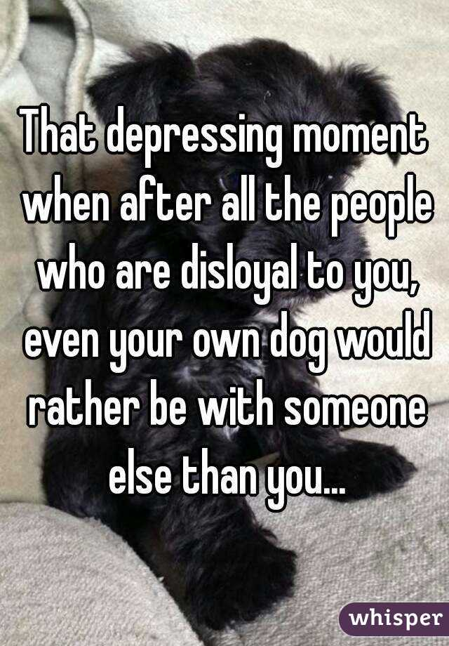 That depressing moment when after all the people who are disloyal to you, even your own dog would rather be with someone else than you...