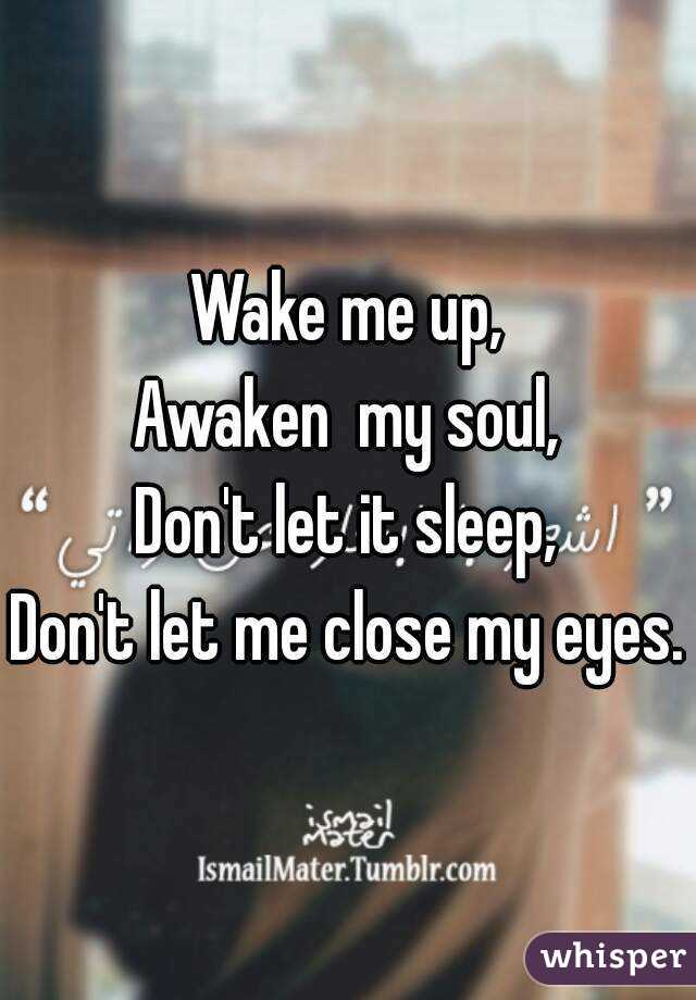 Wake me up, Awaken  my soul, Don't let it sleep, Don't let me close my eyes.
