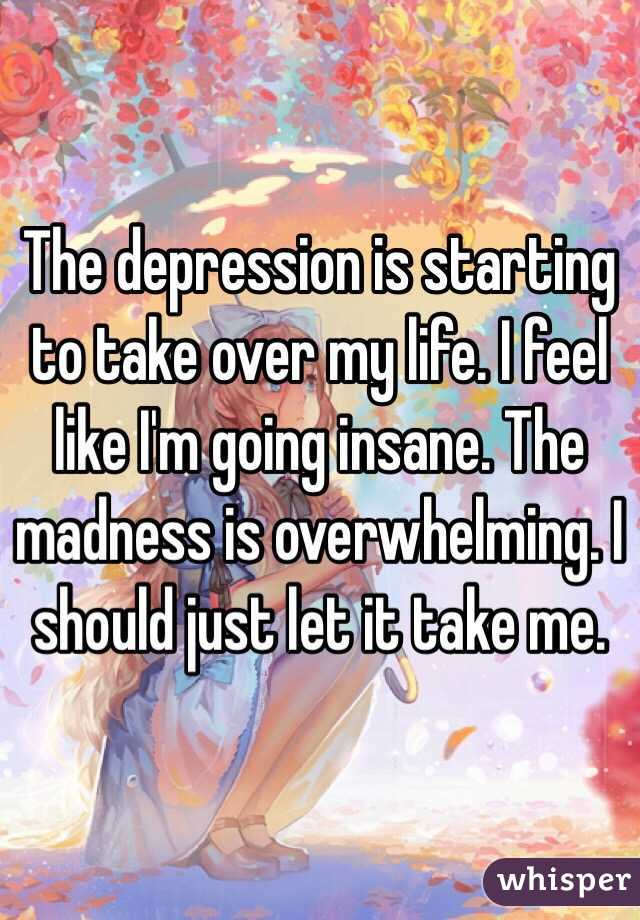 The depression is starting to take over my life. I feel like I'm going insane. The madness is overwhelming. I should just let it take me.