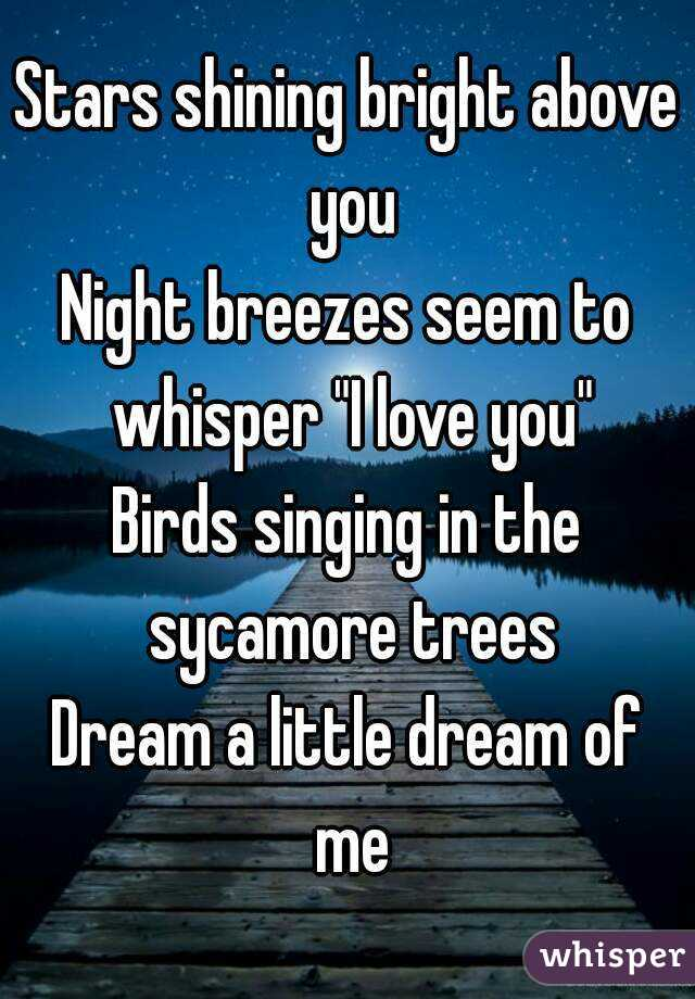 """Stars shining bright above you Night breezes seem to whisper """"I love you"""" Birds singing in the sycamore trees Dream a little dream of me"""