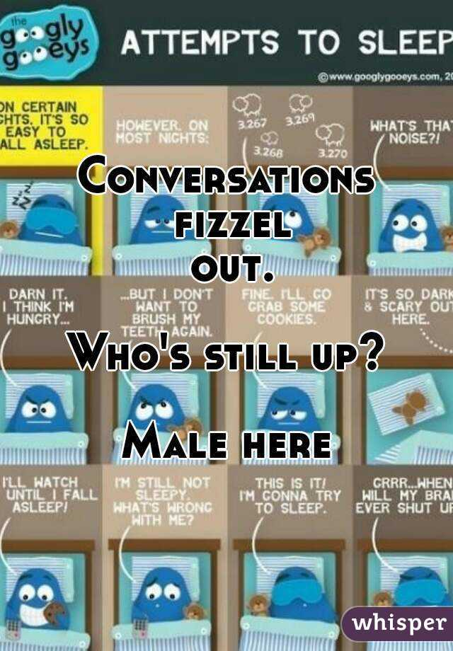 Conversations fizzel out.  Who's still up?  Male here