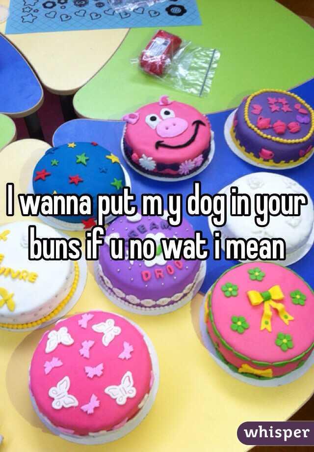 I wanna put m y dog in your buns if u no wat i mean