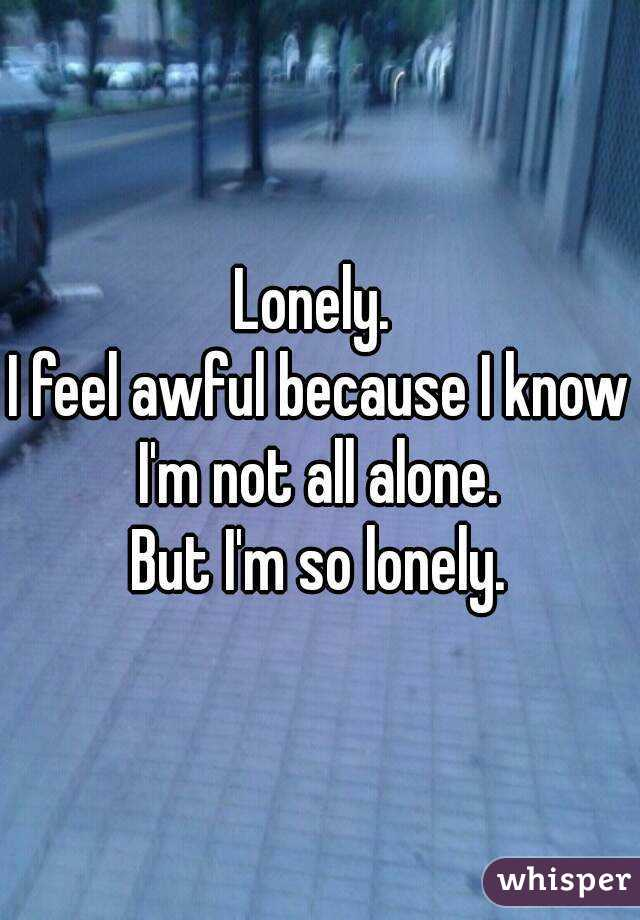 Lonely.  I feel awful because I know I'm not all alone.  But I'm so lonely.