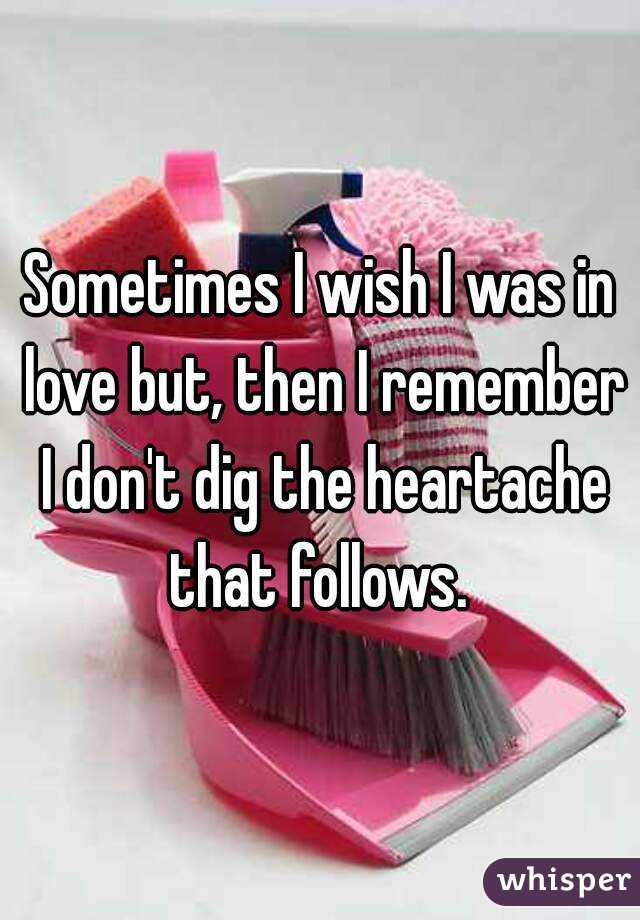 Sometimes I wish I was in love but, then I remember I don't dig the heartache that follows.