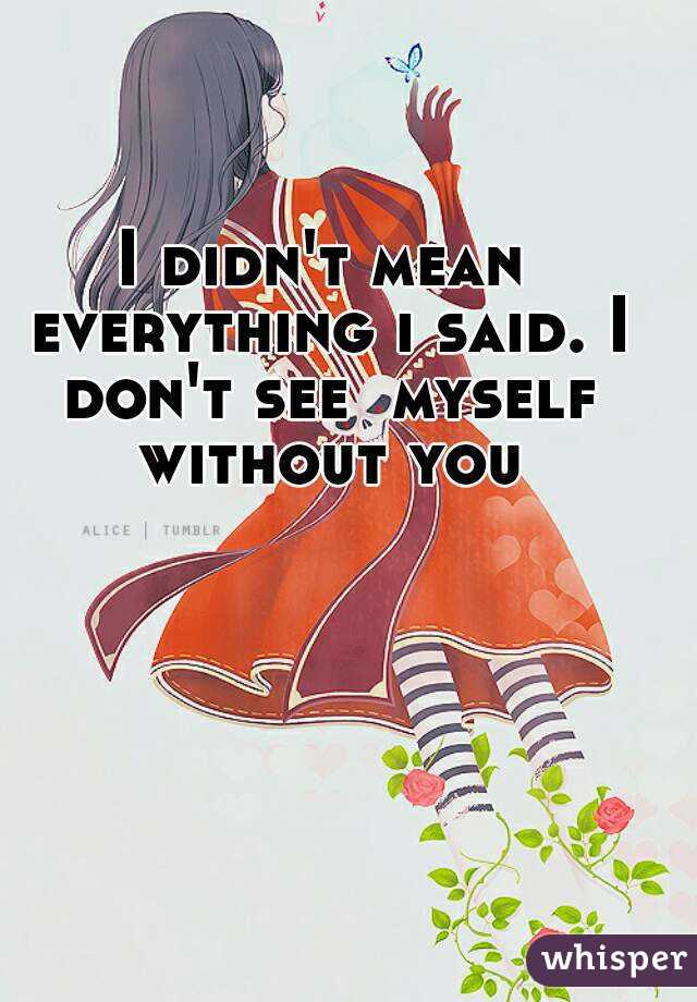 I didn't mean everything i said. I don't see  myself without you