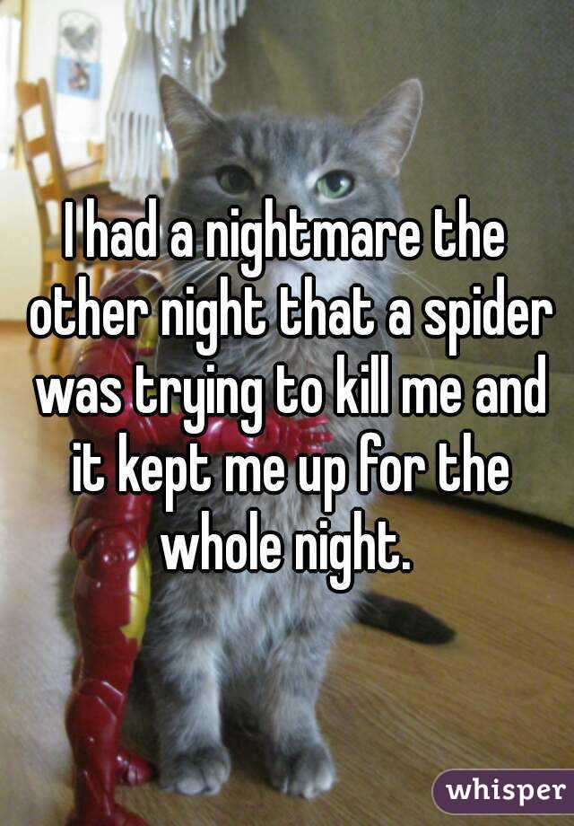 I had a nightmare the other night that a spider was trying to kill me and it kept me up for the whole night.
