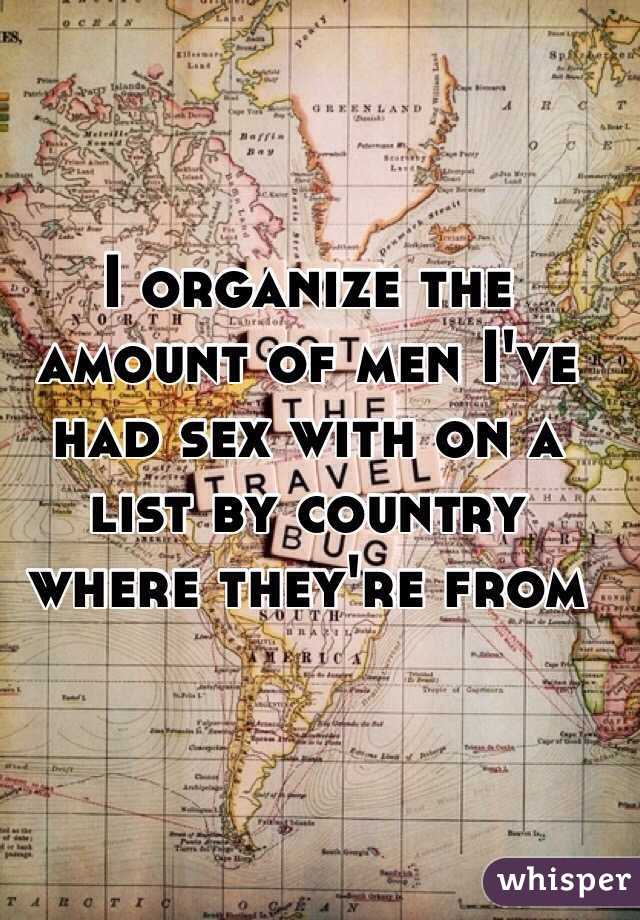 I organize the amount of men I've had sex with on a list by country where they're from
