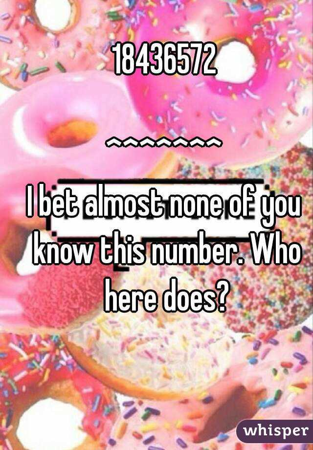 18436572  ^^^^^^^ I bet almost none of you know this number. Who here does?