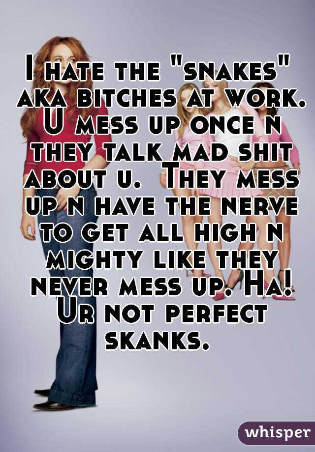 """I hate the """"snakes"""" aka bitches at work. U mess up once n they talk mad shit about u.  They mess up n have the nerve to get all high n mighty like they never mess up. Ha! Ur not perfect skanks."""