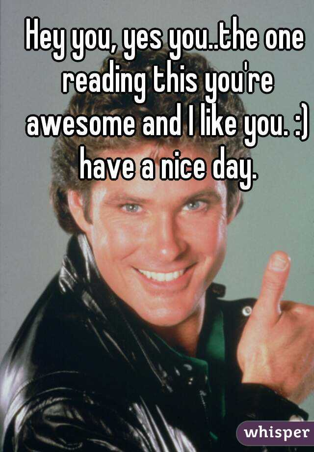 hey you yes you the one reading this you re awesome and i like you
