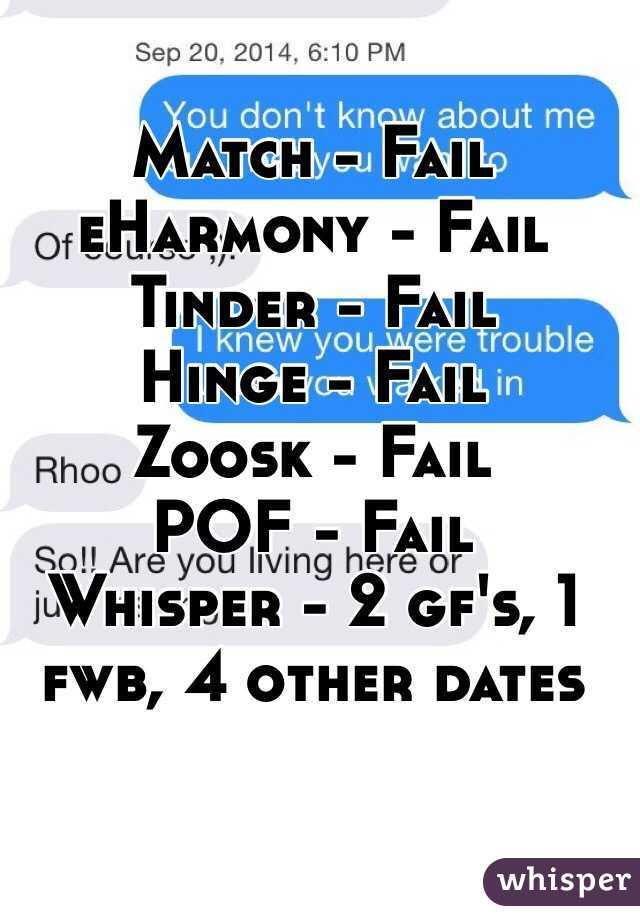 Match - Fail eHarmony - Fail Tinder - Fail Hinge - Fail
