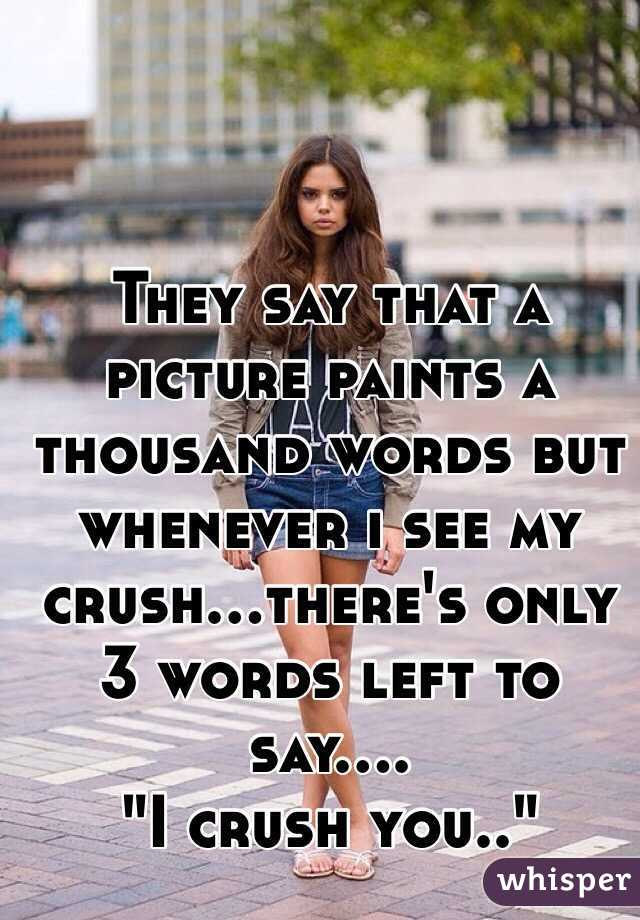 """They say that a picture paints a thousand words but whenever i see my crush...there's only 3 words left to say.... """"I crush you.."""""""
