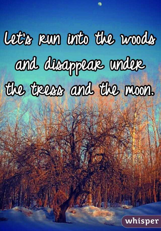 Let's run into the woods and disappear under the tress and the moon.