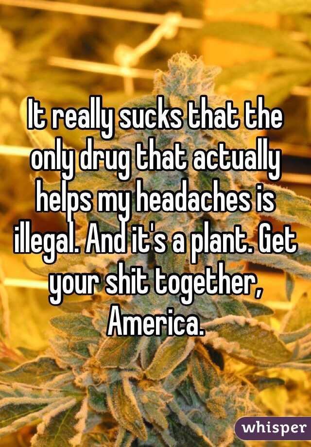 It really sucks that the only drug that actually helps my headaches is illegal. And it's a plant. Get your shit together, America.