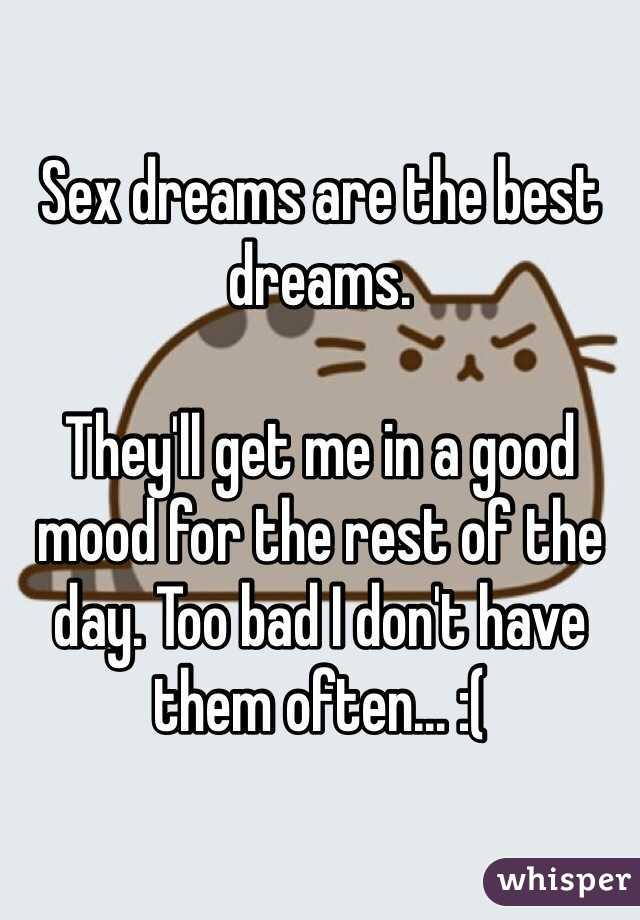 Sex dreams are the best dreams.  They'll get me in a good mood for the rest of the day. Too bad I don't have them often... :(