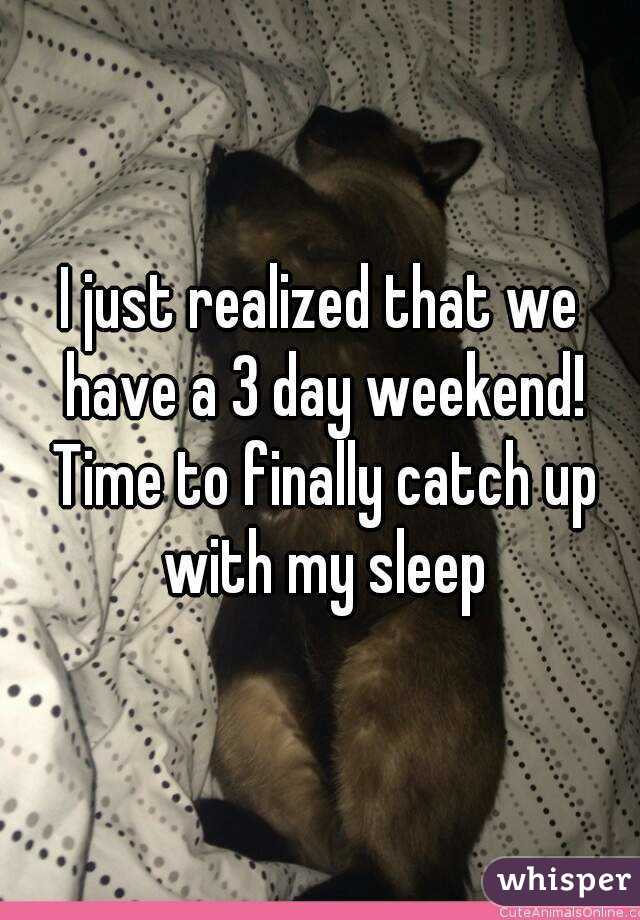 I just realized that we have a 3 day weekend! Time to finally catch up with my sleep