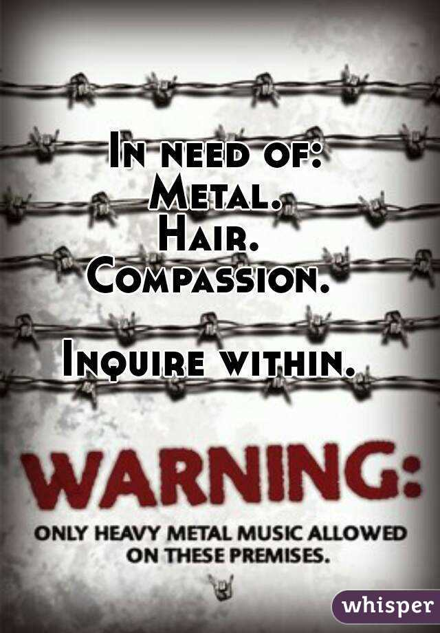 In need of: Metal. Hair.  Compassion.   Inquire within.