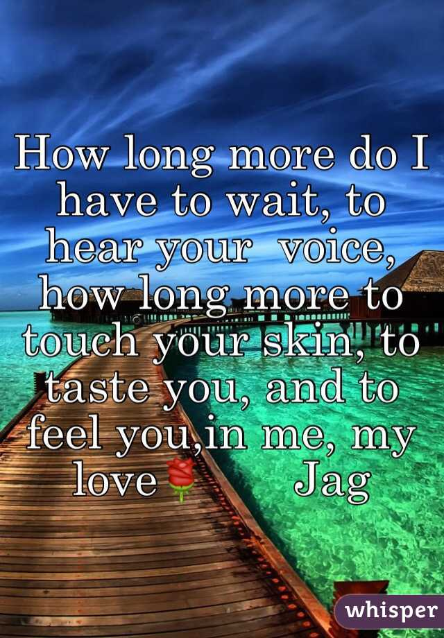 How long more do I have to wait, to hear your  voice, how long more to touch your skin, to taste you, and to feel you,in me, my love🌹       Jag