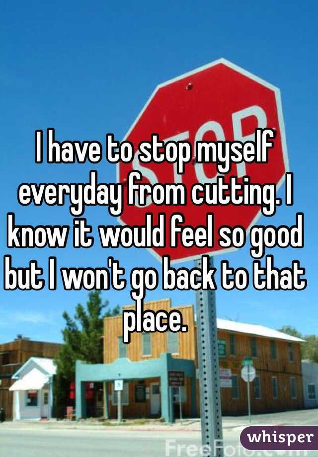 I have to stop myself everyday from cutting. I know it would feel so good but I won't go back to that place.