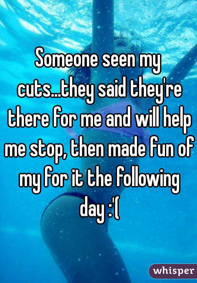 Someone seen my cuts...they said they're there for me and will help me stop, then made fun of my for it the following day :'(