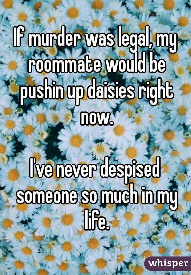If murder was legal, my roommate would be pushin up daisies right now.  I've never despised someone so much in my life.