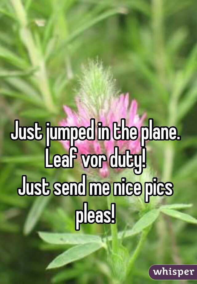 Just jumped in the plane.  Leaf vor duty! Just send me nice pics pleas!