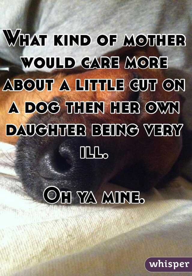 What kind of mother would care more about a little cut on a dog then her own daughter being very ill.   Oh ya mine.