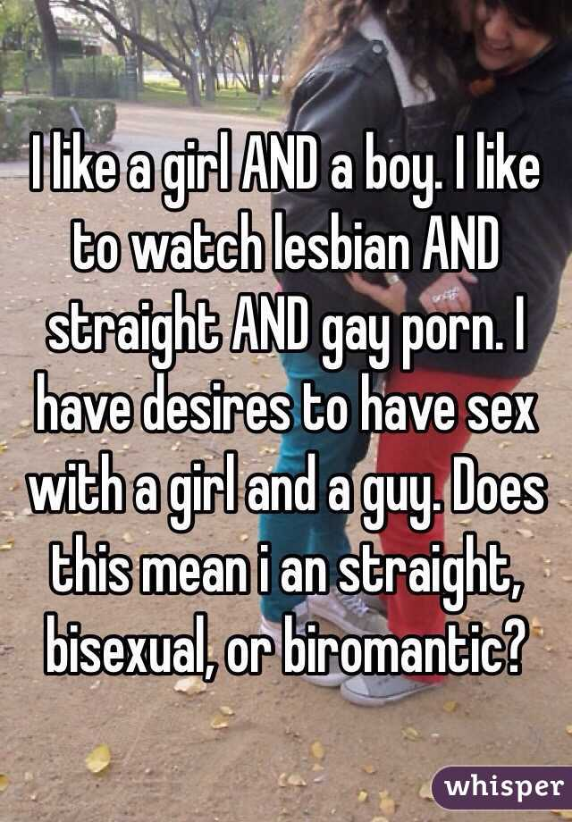 I like a girl AND a boy. I like to watch lesbian AND straight AND gay porn. I have desires to have sex with a girl and a guy. Does this mean i an straight, bisexual, or biromantic?