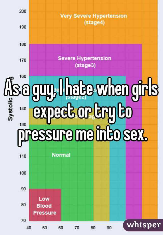 As a guy, I hate when girls expect or try to pressure me into sex.