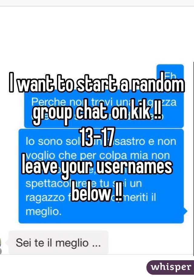 Kik group chat usernames