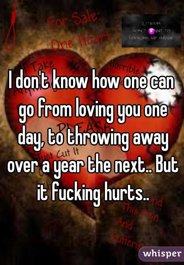 I don't know how one can go from loving you one day, to throwing away over a year the next.. But it fucking hurts..