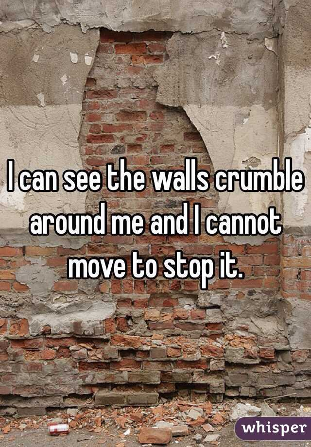 I can see the walls crumble around me and I cannot move to stop it.