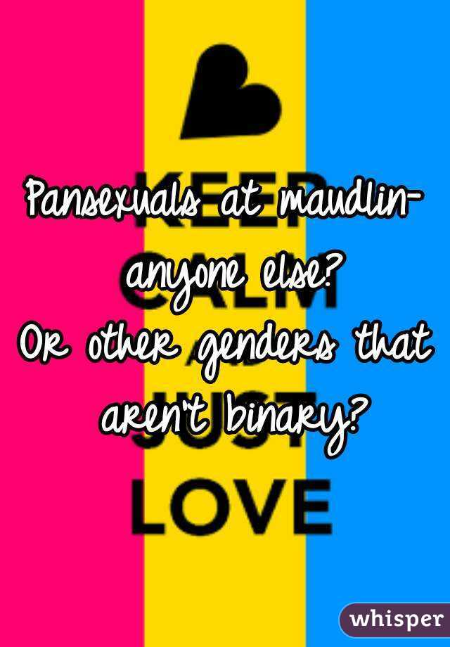 Pansexuals at maudlin- anyone else? Or other genders that aren't binary?