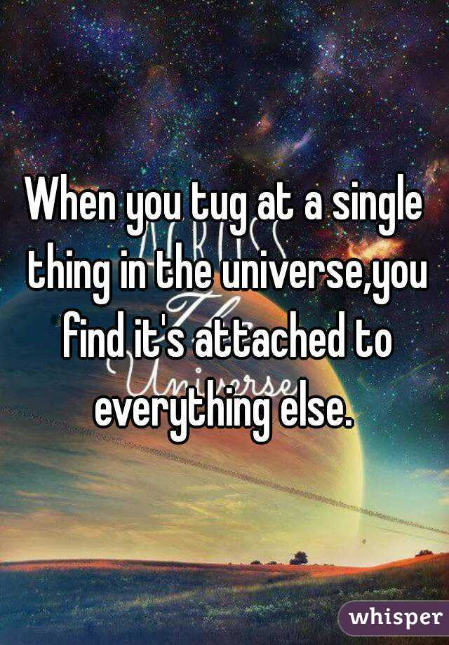 When you tug at a single thing in the universe,you find it's attached to everything else.