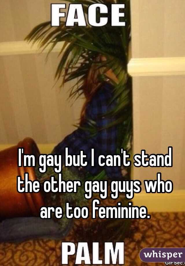 I'm gay but I can't stand the other gay guys who are too feminine.